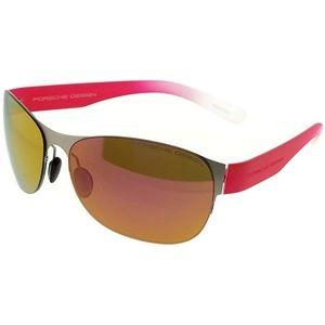 P8581-B Oval Women's Silver Frame Sunglasses NWT